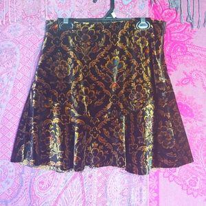 Ecote Gold Velvet vintage medieval Print Skirt